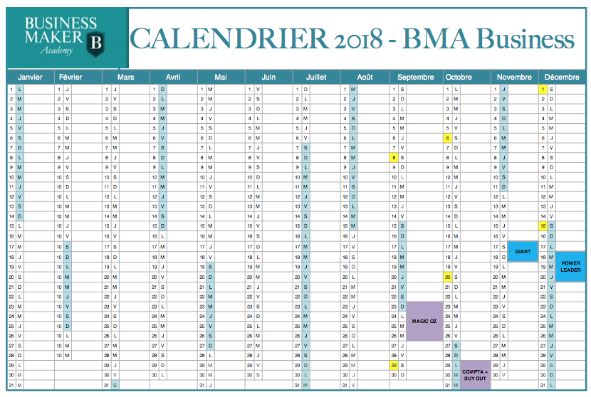 Calendrier BMA Business 2018