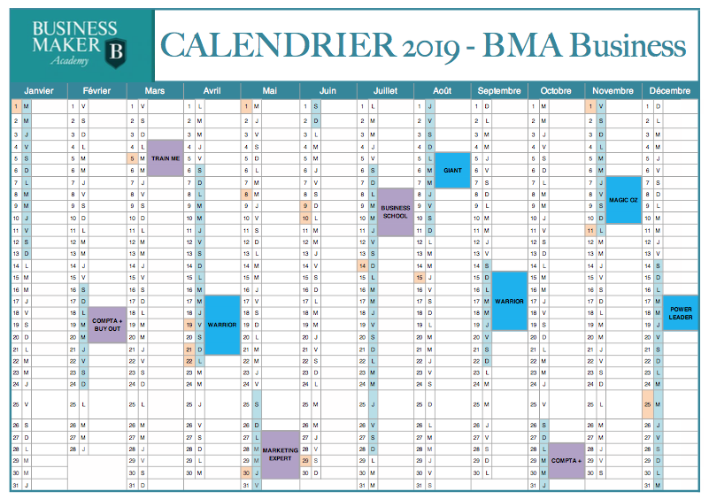 Calendrier BMA Business 2019