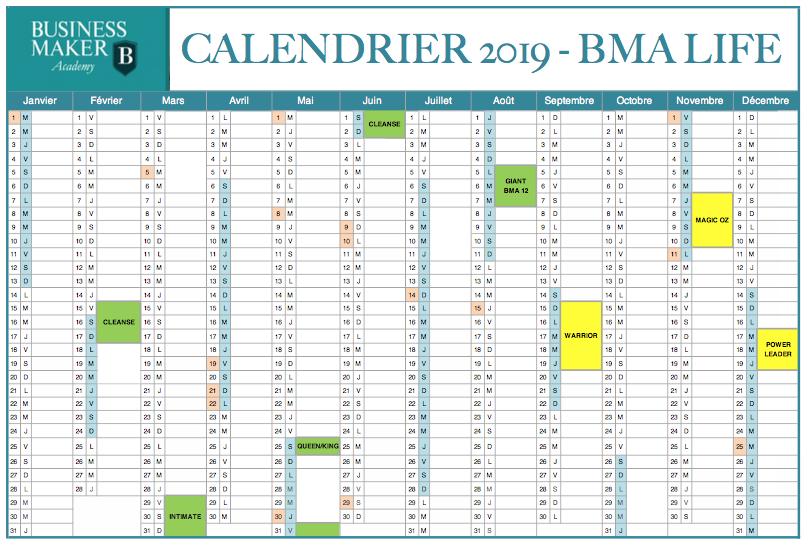 Calendrier BMA Life 2019