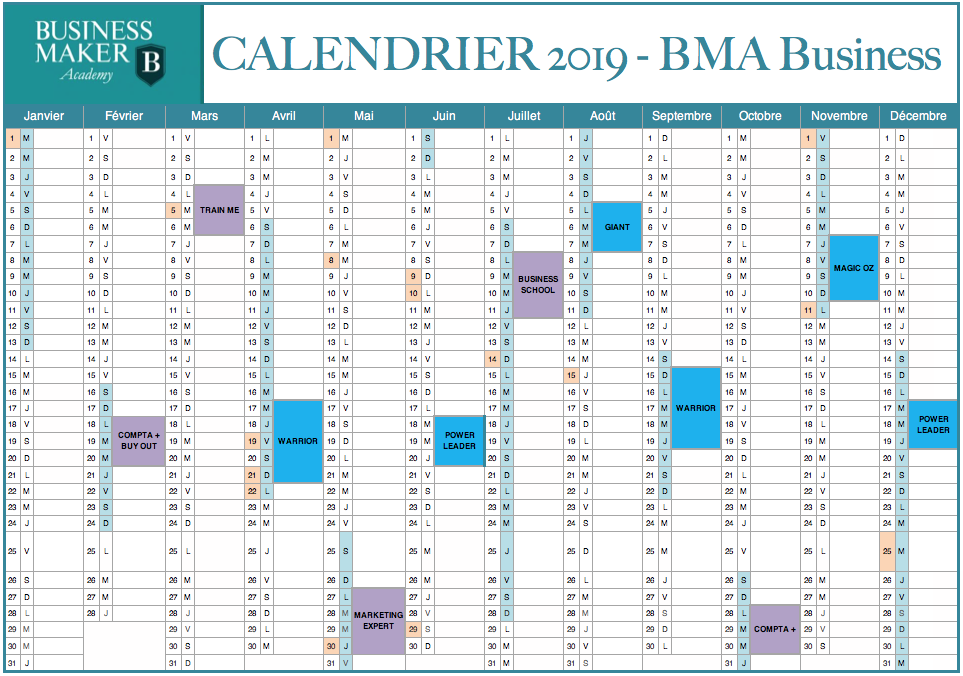 Calendrier MBA Business 2019