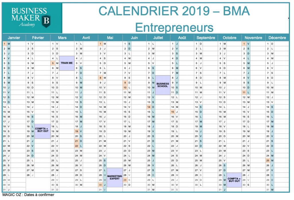 Calendrier BMA 2019 Entrepreneurs