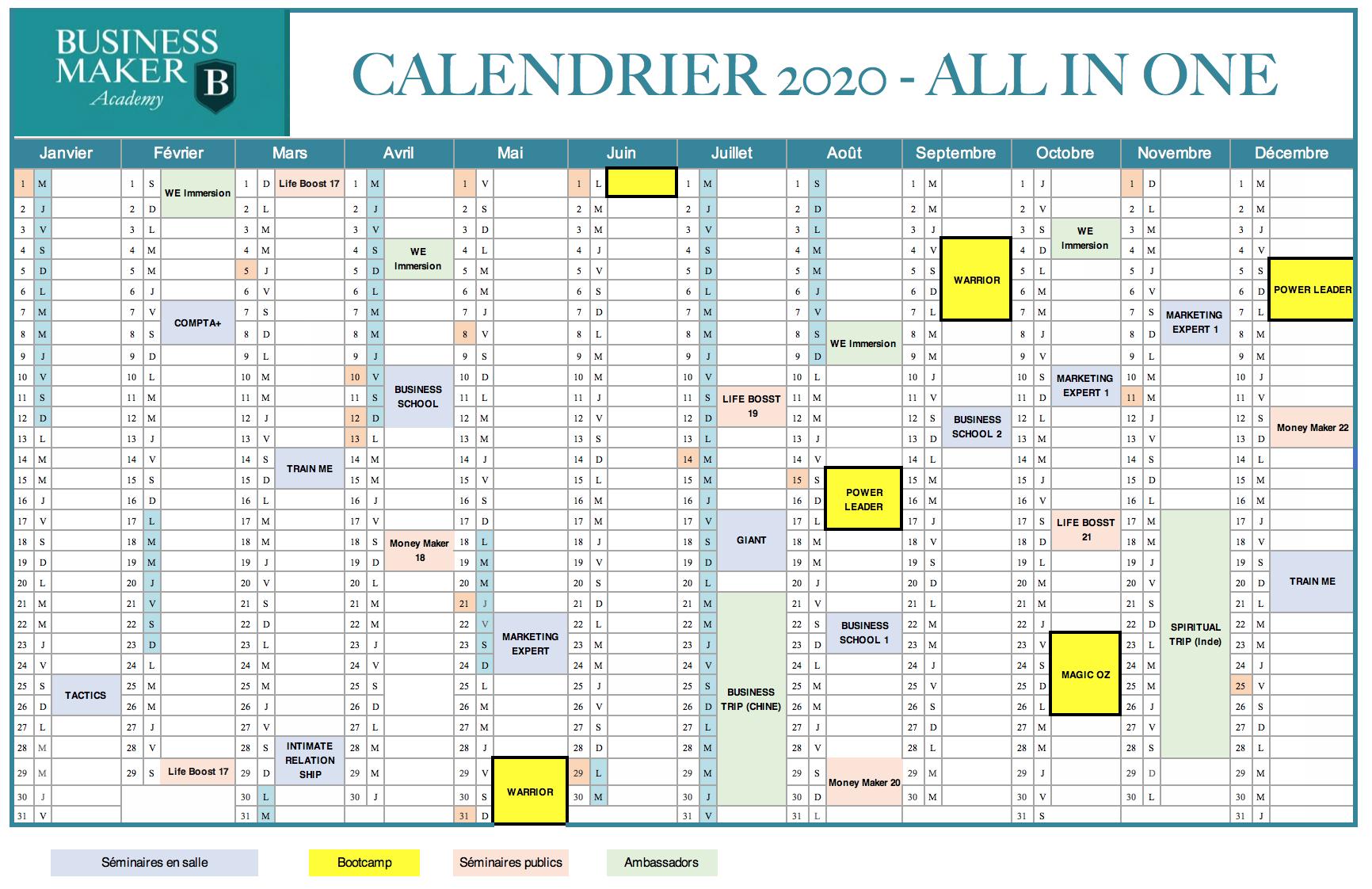 Calendrier 2020 Business Maker Academy